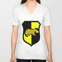 hufflepuff V-neck T-shirts featuring Hufflepuff Crest by Electric Unicorn