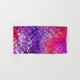 Colorful Retro Curvy Spirals - Abstract Fractal Pattern - Magenta Purple Red hues - Oil painting Hand & Bath Towel