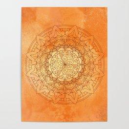 Watercolor Mandala Pattern Orange Poster