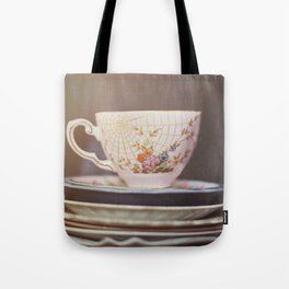 Vintage teacup and old books Tote Bag