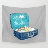 ilovedoodle Wall Tapestries featuring Always bring your own sunshine by I Love Doodle