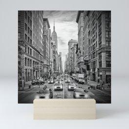 NEW YORK CITY 5th Avenue Traffic | Monochrome Mini Art Print