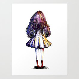 Faceless Girl and Red Doc Art Print