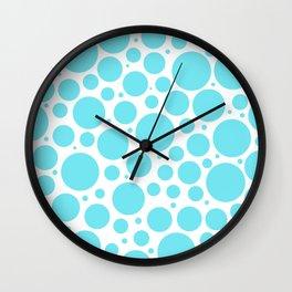 Aqua polkadots- Dot turquoise pattern Wall Clock