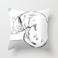 shiba inu Throw Pillows featuring Shiba Inu by Cassandra Jean