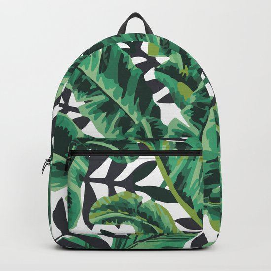 Tropical Glam Banana Leaf Print Backpack