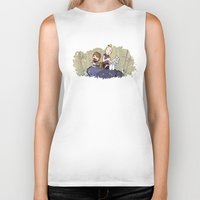 hobbes Biker Tanks featuring Chunk and Sloth by Hoborobo