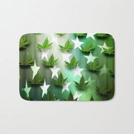Patriotic Stars and Cannabis Design Bath Mat