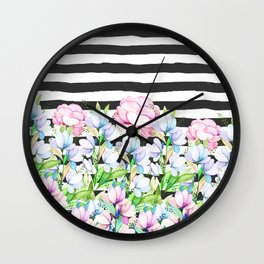 Black white brushstrokes lavender pink watercolor floral stripes Wall Clock