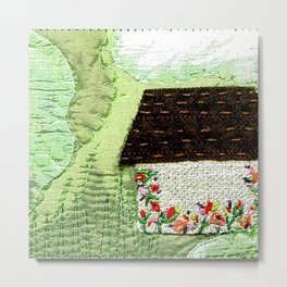 Little house in the green landscape Metal Print