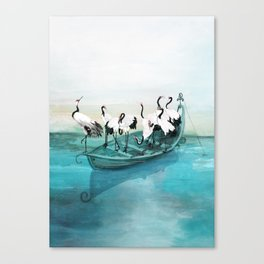 White Cranes Canvas Print