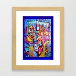 Blue Steam Punk  Music Key Board & Clock Works Abstract Framed Art Print