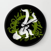 hiphop Wall Clocks featuring Hiphop by Lydia Wingbermuhle
