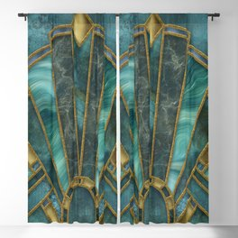 Elegant Stained Glass Art Deco Window With Marble And Gemstone Blackout Curtain