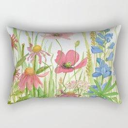 Watercolor Garden Flower Poppies Lupine Coneflower Wildflower Rectangular Pillow
