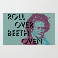 beethoven Area & Throw Rugs featuring Roll Over Beethoven by Priscylla Cabral