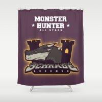 monster hunter Shower Curtains featuring Monster Hunter All Stars - Schrade Legends by Bleached ink