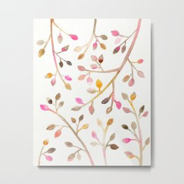 Pastel Leaves Metal Print