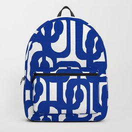Bright Blue and White Mid-century Modern Loop Pattern  Backpack