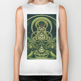 Time Shell IV. Green Abstract Geometry Biker Tank