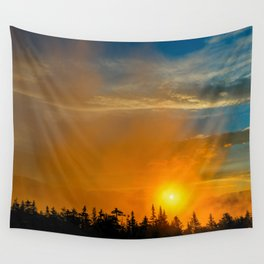 Gold Mist Sunset Wall Tapestry