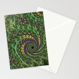 Spiraling Swirling Elegant Amazing Feather Psychedelic Fractal Art Green Purple Colorful Beautiful Stationery Cards