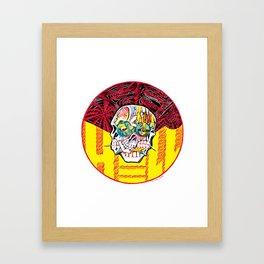 DEEP HELL TRI SKULL Framed Art Print