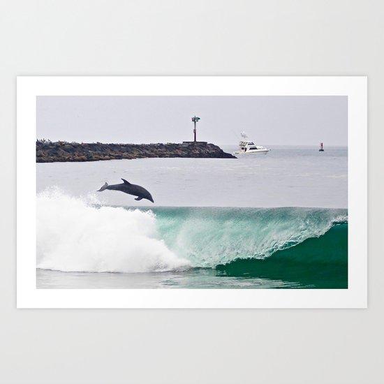 Dolphin Jumping @ Wedge Newport Beach Art Print