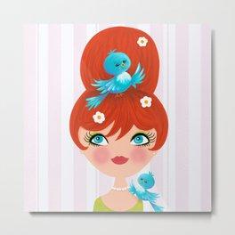 Bluebirds Alight On A Lovely Lady Metal Print