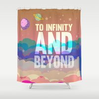 buzz lightyear Shower Curtains featuring to infinity and beyond.. toy story.. buzz lightyear by studiomarshallarts