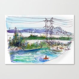 Kayaking in Los Angeles River Canvas Print