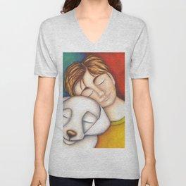 A Boy And His Dog Original Art Portrait Unisex V-Neck