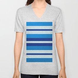 Azure Blue Radiance Stripes Unisex V-Neck