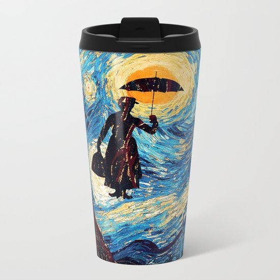 mary poppins Starry Night oil painting iPhone 4 4s 5 5c 6, pillow case, mugs and tshirt Metal Travel Mug