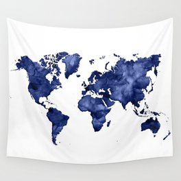 Dark navy blue watercolor world map Wall Tapestry