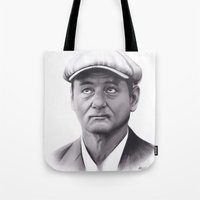 bill murray Tote Bags featuring Drawing of Bill Murray by Brittni DeWeese