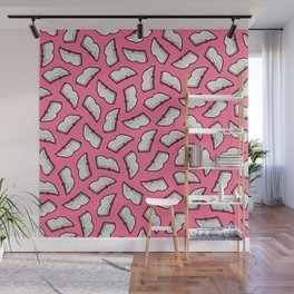Reading Books pattern in Pink Wall Mural