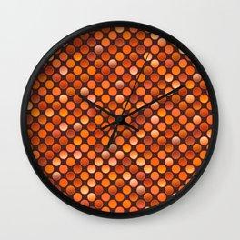 Retro 80s disco terracotta red coins texture Wall Clock