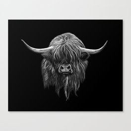 Scottish Highland Cow (bw) Canvas Print