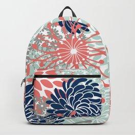 Floral Print - Coral Pink, Pale Aqua Blue, Gray, Navy Backpack