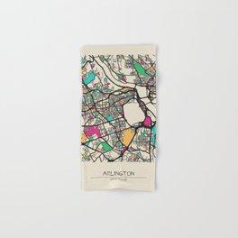 Colorful City Maps: Arlington County, Virginia Hand & Bath Towel
