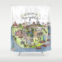 new york city Shower Curtains featuring New York City Love by Brooke Weeber