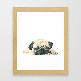 Nap Pug, Dog illustration original painting print Framed Art Print