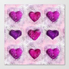 Pink Passion colorful heart pattern Canvas Print