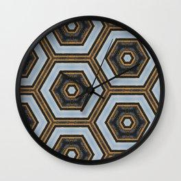 Black & Gold Geometric Pattern Wall Clock