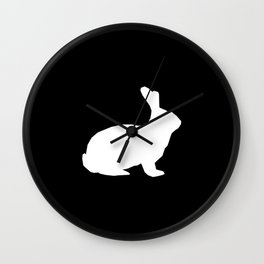 Rabbit silhouette minimal black and white basic pet art bunny rabbits art Wall Clock