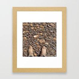 walking on rocks Framed Art Print