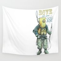 diver Wall Tapestries featuring Diver by pakowacz