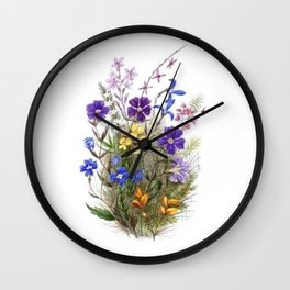 Vintage Wildflowers Wall Clock