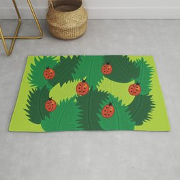 Green Leaves And Ladybugs In Spring Rug